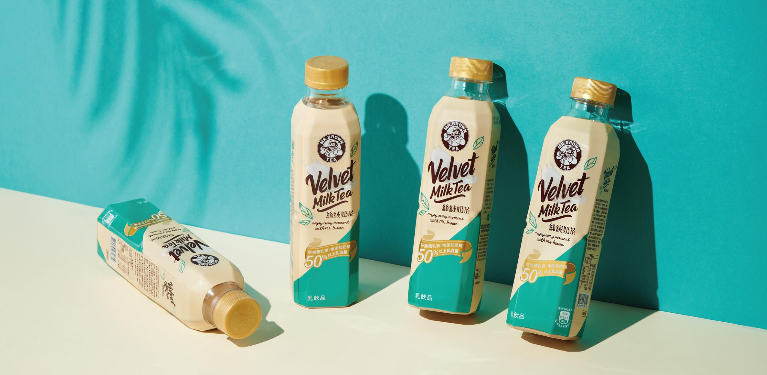 金車伯朗絲絨奶茶 瓶裝飲料包裝設計
