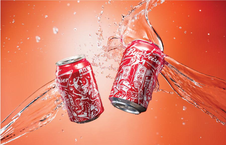 百威Budweiser 潮流插畫啤酒包裝設計